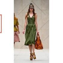 Nwt Burberry Prorsum Runway Womens 2595 Green Silk Taffeta Dress Sz Us 8 Eu 42  Photo
