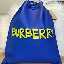 Nwt Burberry Soft Leather Blue Graffiti Drawstring Backpack Photo
