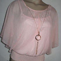Nwtby & by Blush Pink Glitter Dolman Sleeve Blouse W/cami & Necklacesgorgeous Photo