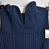 Nwt by the Way Mini Strapless Dress Dark Blue Pinstripe Plunge v-Neck Wired Glam Photo