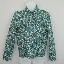Nwt Cacharel Green Floral Cotton Printed Zipper Font Shirt Blouse Top 36 Us 4/6 Photo