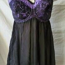 Nwt Cacique Lane Bryant Womens 14/16 Purple Black Sheer Sexy Night Gown Lingerie Photo