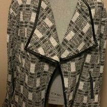 Nwt Calvin Klein Black/white Silver Metallic Faux Leather Trim Jacket Size 2x Photo