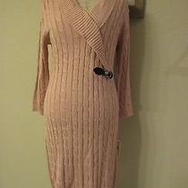 Nwt Calvin Klein Cable Sweater Dressshawl Collar Blush Gold Size M Photo