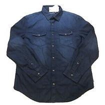 Nwt - Calvin Klein Jeans Mens Large Worn Indigo Navy Blue Button Up Long Sleeve Photo