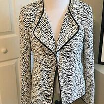 Nwt Calvin Klein Lined Black and White Blazer Open Closure Jacket Size 14 Photo