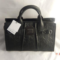 Nwt--Calvin Klein Parker Logo Embossed Satchel-Black--Awesome Gift Photo