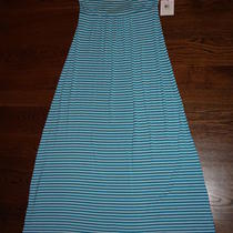 Nwt Calvin Klein Stripe Maxi Dress Sz 4 Adjustable Straps Aqua White Cd3n2xr8 Photo