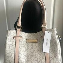 Nwt Calvin Klein Vanilla Handbag Desert Taupe Blush Straps Logo Purse Shoulder B Photo