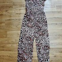Nwt Calvin Klein Women's Animal Print Leopard Jumpsuit One Piece Hibiscus Sz 6 Photo