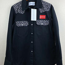 Nwt Calvin Klein Women's Black Floral Snap Button Denim Jacket Size Xl Photo