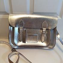 Nwt Cambridge Satchel Company for J Crew Metallic Satchel 205 Silver Leather Photo