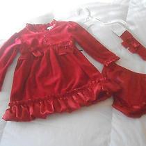 Nwt  Camilla Red Velour  Dress Set Sz. 18 Months  New Photo