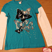 Nwt Candies Aqua Long Sleeved 'Butterflies' Knit Top - Girls Sz L 14 Photo