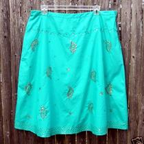 Nwt Carole Little  Aqua Turquoise Necco Green Sequin Detailed a-Line Skirt 22w Photo