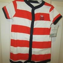 Nwt Carter's 1 Piece Size 3 Months Romper Red/white/blue