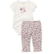 Nwt Carter's 2 Pc Set Cutest Little Sister Cat T-Shirt Animal Print Pants 6 Mos Photo