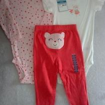 Nwt Carter's 24 Month Girls 3pc Pink & Red Bear Set Stars Bodysuits & Pants  Photo