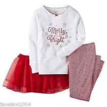 Nwt Carter's 3pc Holiday Merry & Bright Tutu Pajamas Set Girls Sz 7 Red Stripes Photo