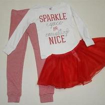 Nwt Carter's 3pc Holiday Spice Christmas Tutu Pajamas Set Girls  4t Red Stripes Photo