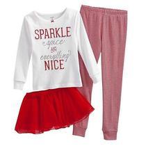 Nwt Carter's 3pc Holiday Spice Christmas Tutu Pajamas Set Girls Sz 7 Red Stripes Photo
