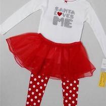 Nwt Carter's 3pc Santa Loves Me Christmas Tutu Pajamas Set Toddler Girl 4 Dots Photo
