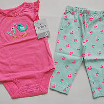 Nwt Carter's Baby Girls Little Sister Birds Pants 9 Months 2 Pc Set Outfit Photo