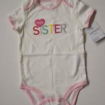 Nwt Carter's Baby Girls Size 18 Months Pink Trimmed Heart Little Sister Bodysuit Photo