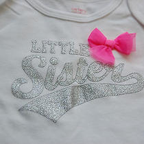 Nwt Carter's Girls Size 24 Months Short Sleeved Little Sister Pink Bow Bodysuit Photo