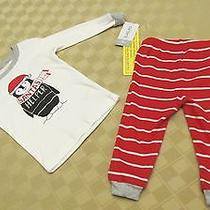 Nwt Carter's Infant Size 9 Months Outfit Two-Piece Set Baby Red White Santa Photo