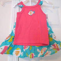 Nwt Carter's Pink and Aqua Fish Skort Set Size 9 Mos Photo