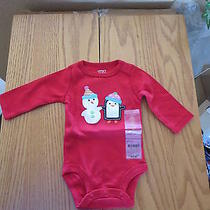 Nwt Carter's   Red Christmas  Snow Man Nb  Photo