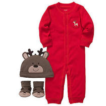 Nwt Carter's Reindeer Christmas 3pc Set Romper Hat Booties 9 Months Unisex Photo