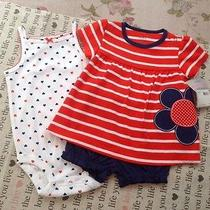 Nwt Carters Baby Girl 9mo 3pc Red/whie/blue Spring/summer Set Summer Sale Photo