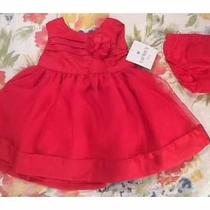 Nwt Carters Girls 3 Months Fancy Lined Red Dress Photo