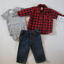 Nwt Cater's Baby Boy Onesie Red Checkered Long Sleeve Shirt Pant 3pc Set 3m 38 Photo