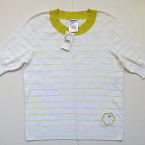 Nwt Chanel 14p Spring Pullover Sweater White Yellow Trim Top Cc Logo 40/6-8 Photo