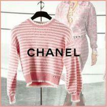 Nwt Chanel 20s Pink/white Striped Cashmere Blend Sweater F 36/us 4 2550 Photo