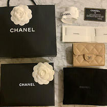 Nwt Chanel Beige Caviar O-Coin Holder Flap Card Case Back Pocket 2018 18b Taupe Photo