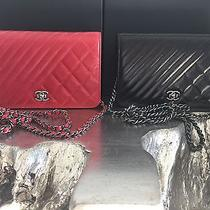Nwt Chanel Coco Boy Dk Red Quilted Chevron Calf Leather Woc Wallet Chain Soldout Photo