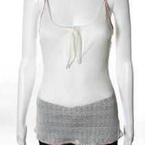 Nwt Chanel Off White Open Knit Spaghetti Strap Red Trim Tank Top Sz 38 06p 545 Photo