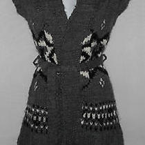 Nwt Charcoal Gray W/ White & Black  Mossimo Supply Co. Tunic Wrap Sweater Xs 0 2 Photo