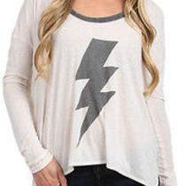 Nwt Chaser La Soft Metallic Lightening Bolt Top Sz M Photo