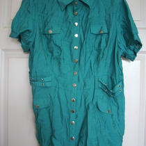 Nwt Chi Chi  Teal Womans Blouse W/ Silver Snaps  Size 3xl  Very Cute Photo