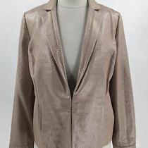 Nwt Chico's Antique Blush Cotton Blend Women's Metallic v-Neck Jacket Size 1 Photo