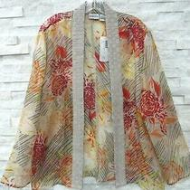 Nwt Chicos Basketweave Bloom Adila Sheer Silk Art-to-Wear Kimono Jacket Topper 3 Photo