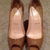 Nwt Christian Louboutin Nude/camel Very Prive Open Toe Patent High Heel Shoe  Photo