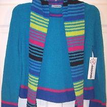 Nwt Christie Brooks Girl's Turquoise/multi Chenille Sweater & Scarf Set L (14) Photo