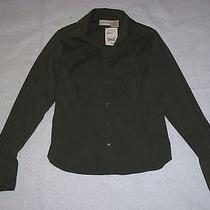 Nwt Christie Jill Fitted Long Sleeve Button Down Stretch Shirt Green S Small Photo