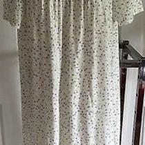 Nwt Classic Element 100% Cotton Summer Nightgown Floral Whiteblue Short Sl S Photo